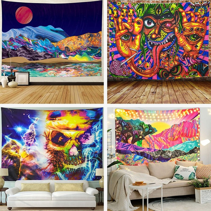 New Art Tapestry Hippie Wall Tapestry Psychedelic Background Cloth Colored Forest Scenery Polyester Tapestry Bedroom Decora