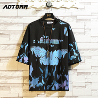 블루 나비 티셔츠 프린트 대형 남성 힙합 티셔츠 o-넥 여름 스트리트웨어 남성 캐주얼 티셔츠 5XL 패션 루즈 티셔츠