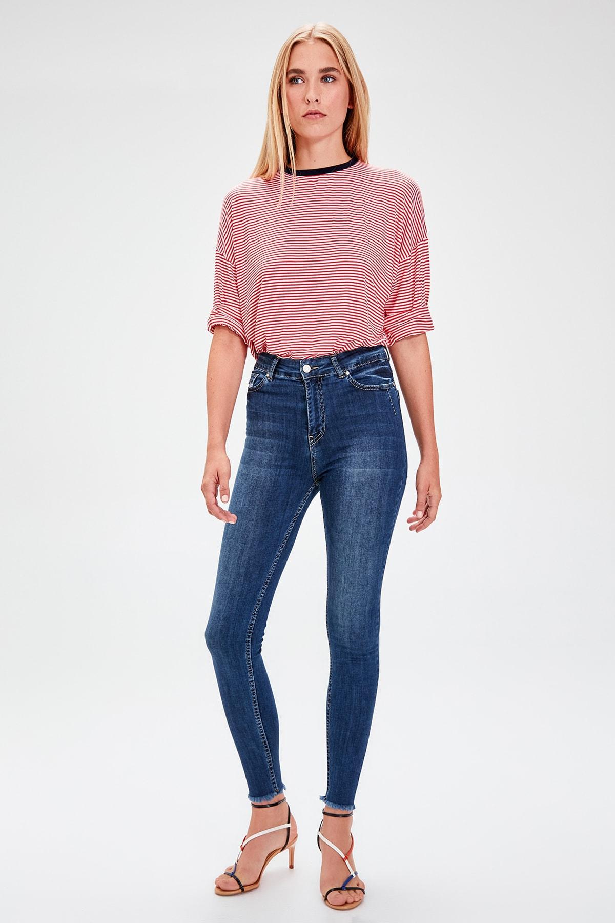 Trendyol Blue High Waist Skinny Jeans TWOAW20JE0075
