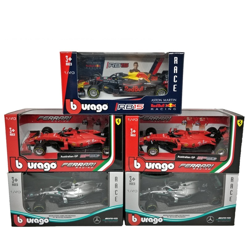 BBurago 1:43 F1 2019 AMG W10 RedBull RB15 SF90 Formula One Diecast Racing Model Car Toy Cars