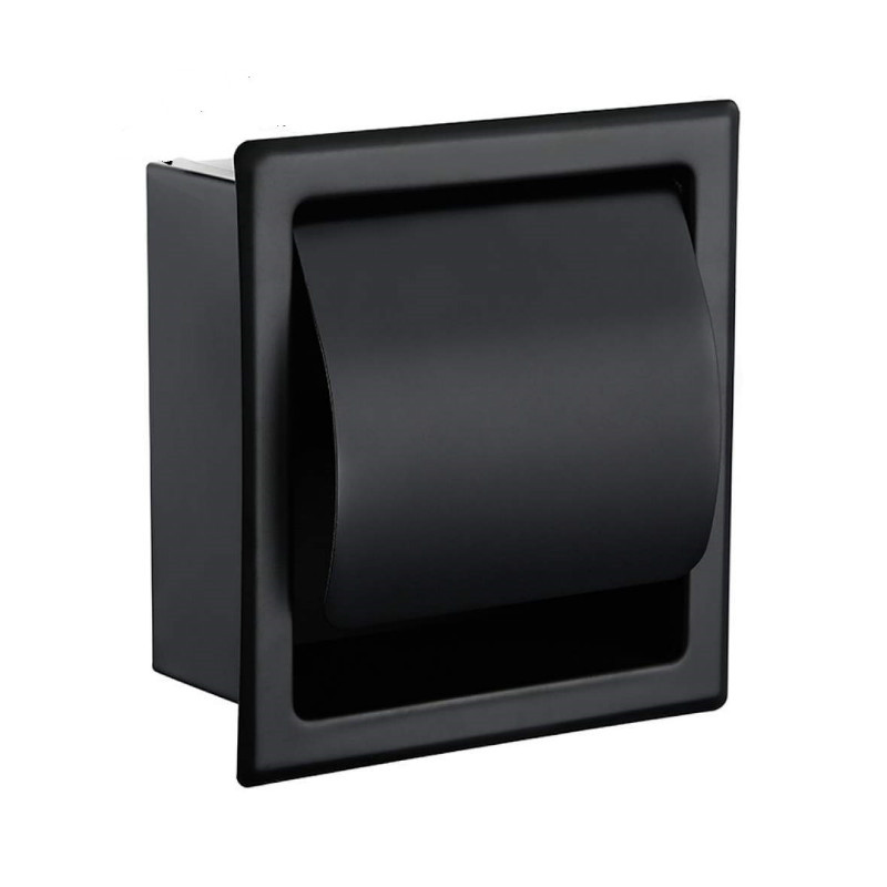 Black Recessed Toilet/Tissue Paper Holder All Metal Contruction 304 Stainless Steel Double Wall Bathroom Roll Paper Box
