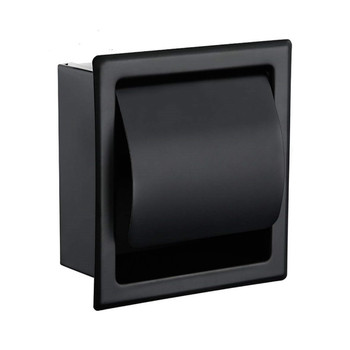 Black Recessed Toilet/Tissue Paper Holder All Metal Contruction 304 Stainless Steel Double Wall Bathroom Roll Paper Box 2016 real toilet paper holder the airport train station public hotel bathroom stainless steel hand towels sassafras box frame