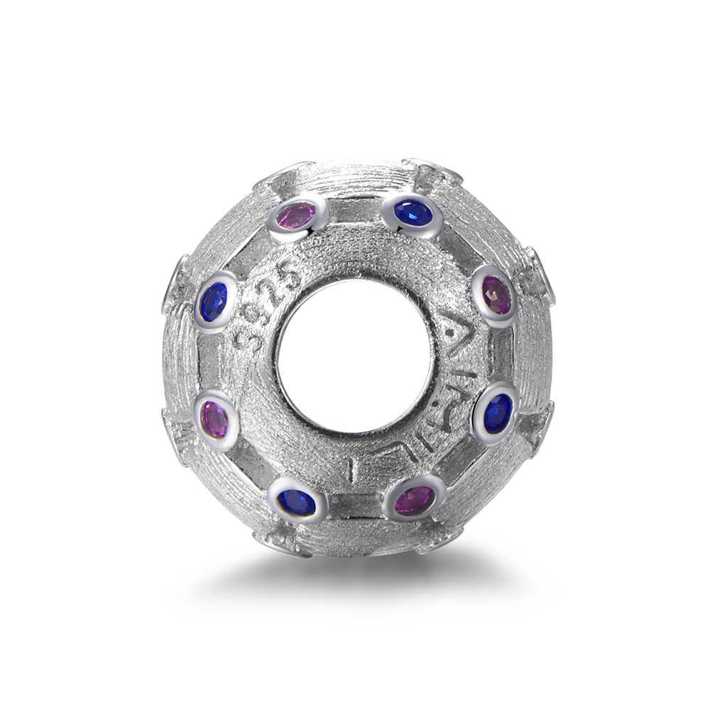 Шарма стерлингового серебра в виде бус подходящие браслет ювелирные подвески для самостоятельного изготовления с синий фиолетовый Crystar s925 чистого серебра GW, оригинал, ювелирное изделие, X421