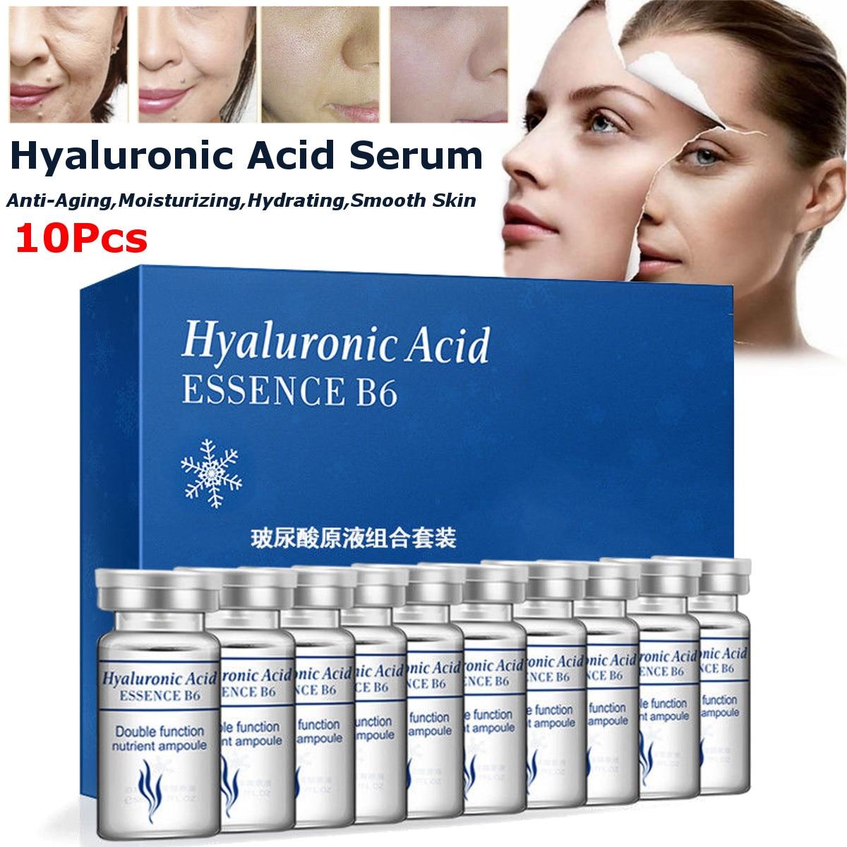 10Pcs Vitamin Hyaluronic Acid Serum Moisturizer Facial Skin Care Set Anti Wrinkle Anti Aging Collagen Essences Liquid