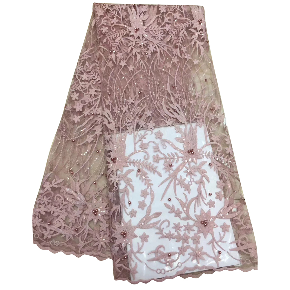 Fashionable Latest African Lace Fabric Floral Appliques With Sequins Beaded High Quality Tulle Lace For African Women Dress