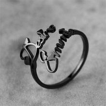 Niestandardowe podwójne nazwa pierścienie regulowany czarny kolor ze stali nierdzewnej spersonalizowane tabliczka znamionowa obrączka biżuteria prezent dla kobiet