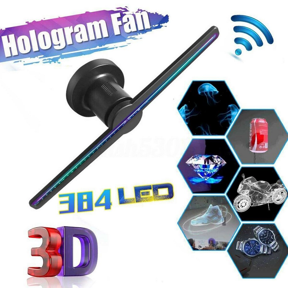 Holograma 42cm 50cm Wifi 3D Holographic Projector Hologram Player Naked Eye LED Display Fan Advertising Light APP Control image