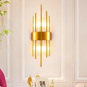 Image 4 - מודרני קריסטל מנורת קיר זהב פמוט אורות AC110V 220V אופנה יוקרה זוהר סלון חדר שינה אור גופי