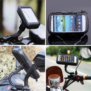 Image 3 - Universal Waterproof Bicycle Motorycle Phone Holder Bags Motorbike Rear View Mirror Stand Mount Bracket GPS Support 6.5 Phone