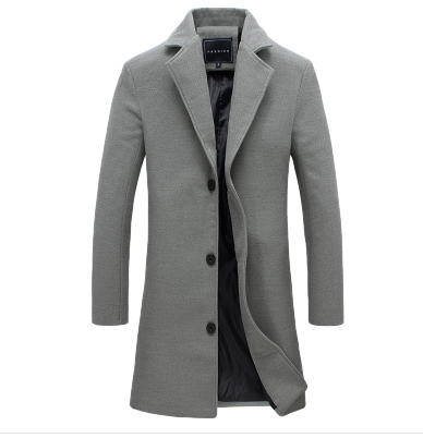 Coat Elegant Winter Jacket Business Wool-Style Autumn Men's Casual And Long Solid Pike