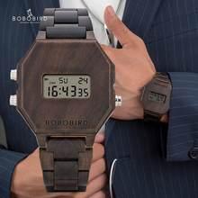 BOBO kuş tasarım dijital Wristswatch erkekler gece görüş bambu saat erkek LCD saatler benzersiz zaman göstergesi yılbaşı yıldönümü