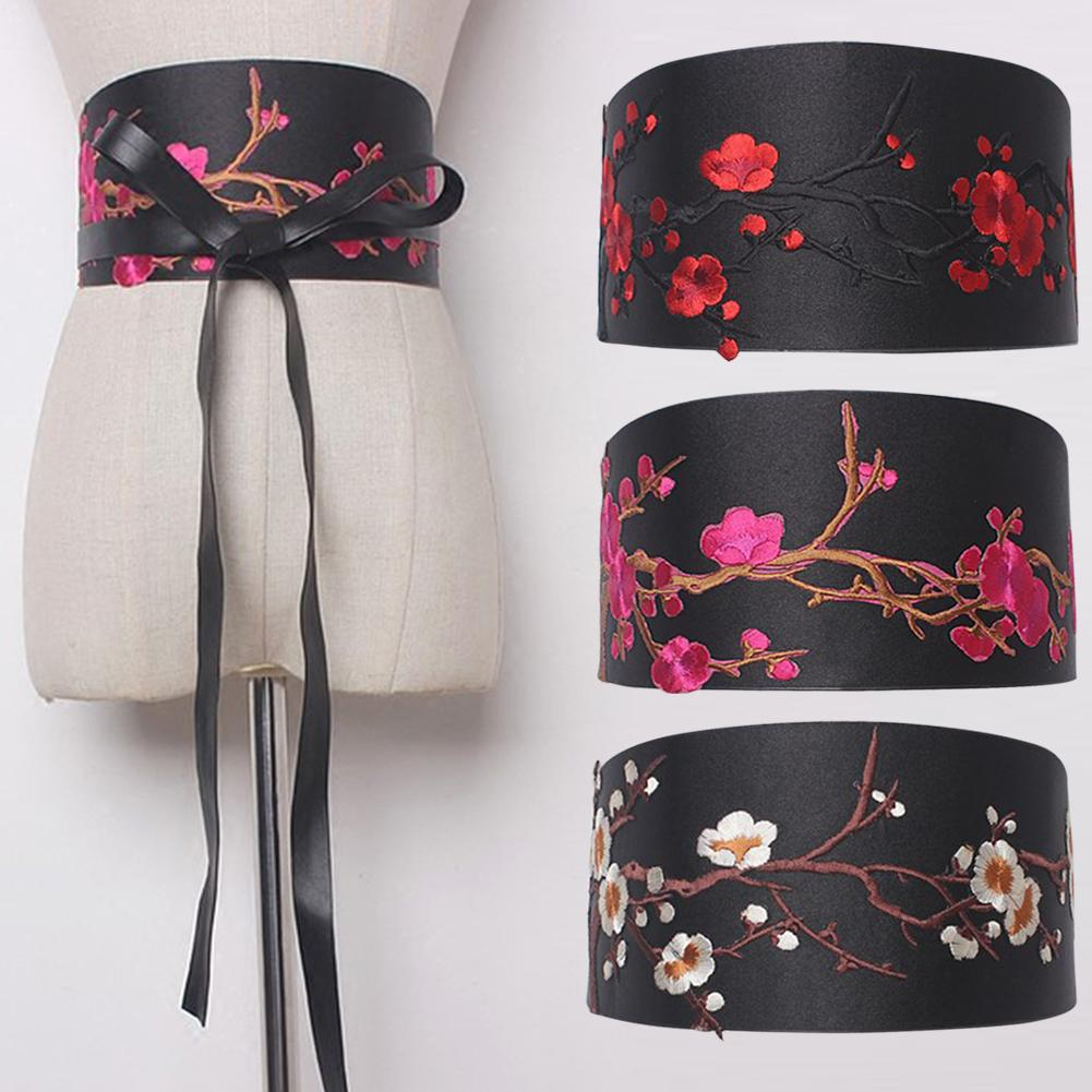 Vintage Belts For Women Lace Up Front Black Bandage Bowknot Wide Stretch Elastic Belts Waist Girdle With Embroidery Floral