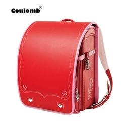 Coulomb الأطفال حقيبة مدرسية للفتيات طفل العظام على ظهره لطلاب المدارس Bookbags اليابان بولي PU Randoseru الطفل أكياس حمراء