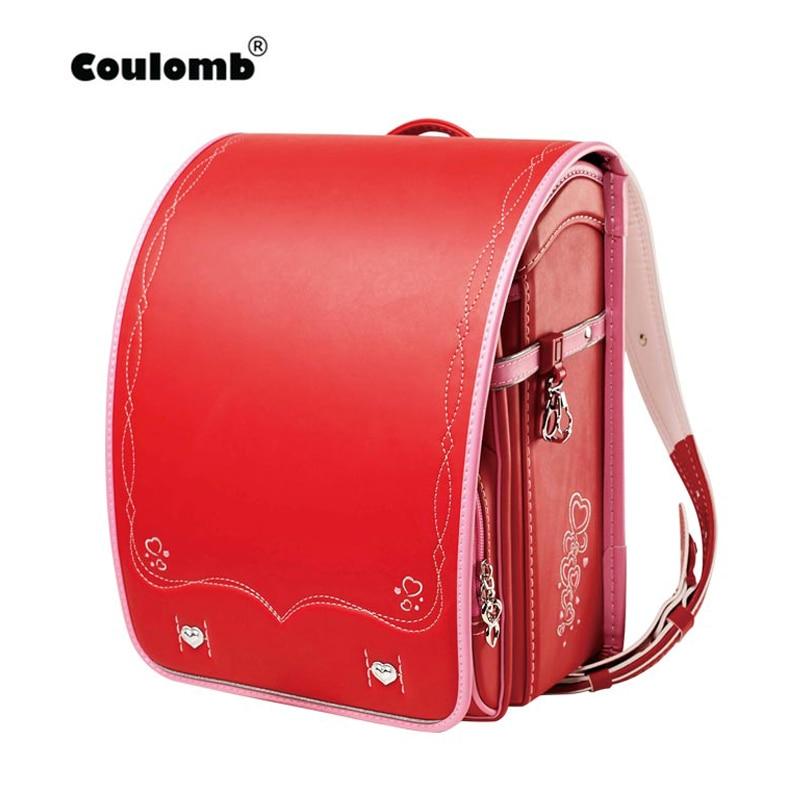 Coulomb crianças saco de escola para meninas criança ortopédico mochila para estudantes da escola bookbags japão plutônio randoseru bebê vermelho sacos