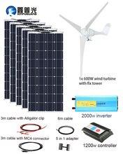 XINPUGUANG  600w Wind Turbine Motors 500w Solar Panel Hybrid House Module Mobile Dc 12v 1100W Home Power System Sale