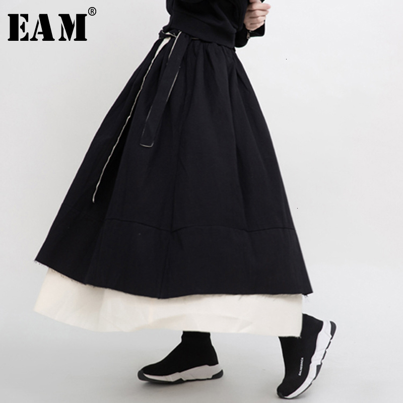 [EAM] High Elastic Waist Black Asymmetrical Burr Double Layers Half-body Skirt Women Fashion Tide New Spring Autumn 2020 1M936