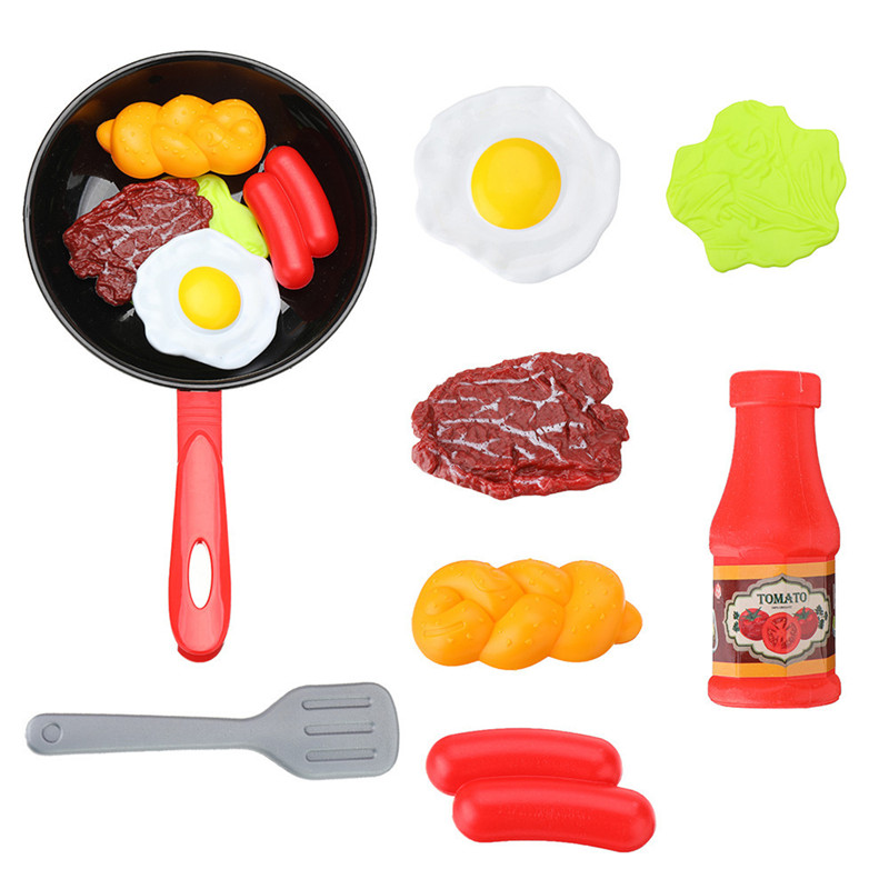 8 pièces enfants cuisine alimentaire jouets Simulation poêle ensemble avec des légumes Steak et plusieurs aliments pour les filles et les garçons
