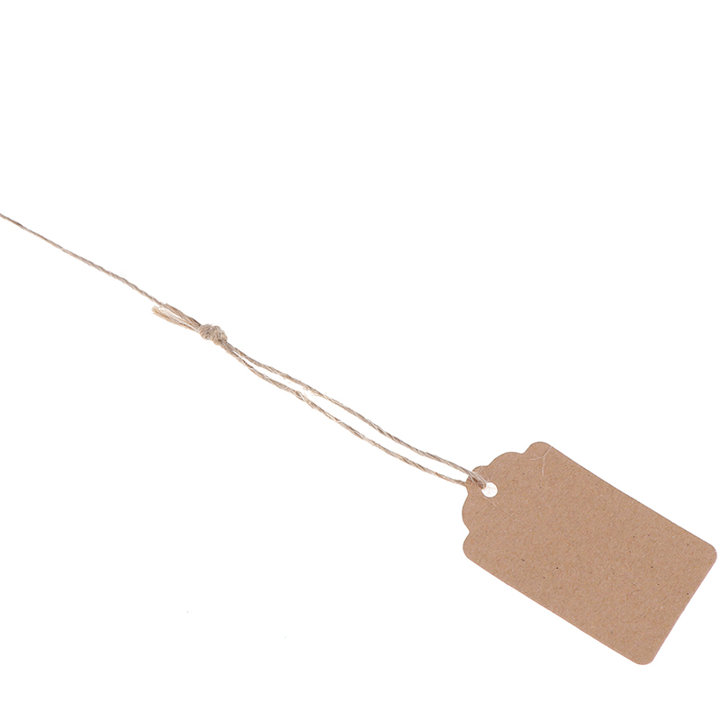 100Pcs/Lot 3cmx5cm Gift Cards Blank Kraft Jewelry Price Label Kraft Paper String Price Tags With String 20m