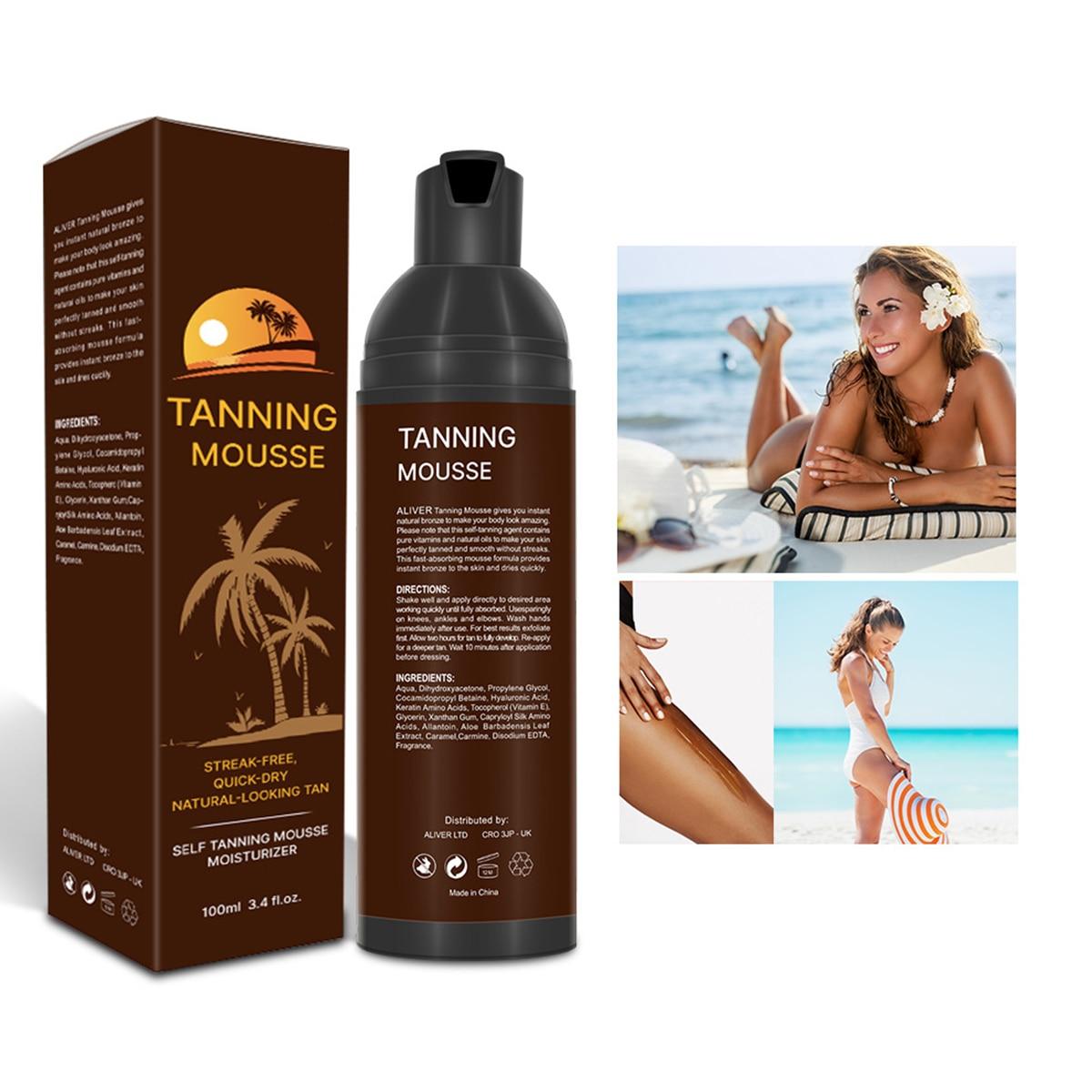 Men Women Self Tanning Mousse Fast-Dry Body Bronzer Darker Sunless Tanning Lotion Cream Fast Absorption Moisturizing Sunscreen