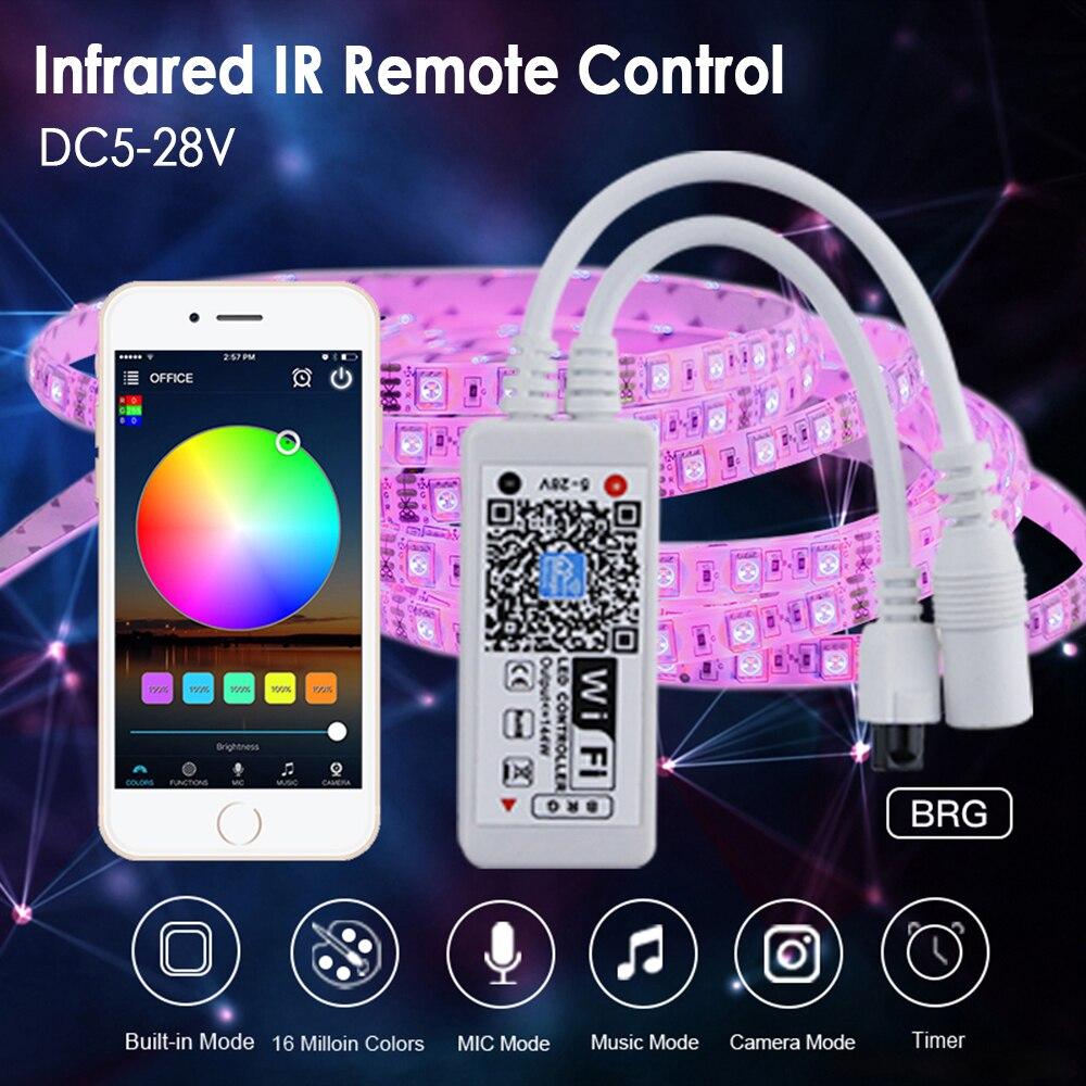 DC5-28V mini wifi rgb tira controlador de música controlador por amazon alexa google casa wi fi controlador para casa inteligente luz tira