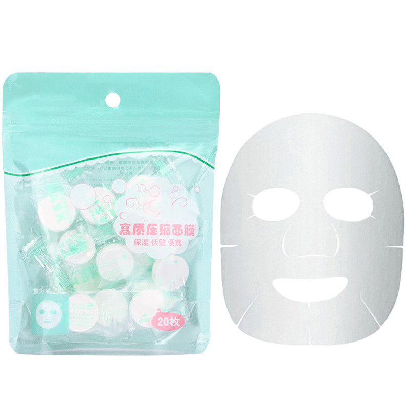 20PCS/Set Disposable Compressed Mask Women Girls Facial Cotton Wrapped Masks Sheets Tablets For DIY Skin Care
