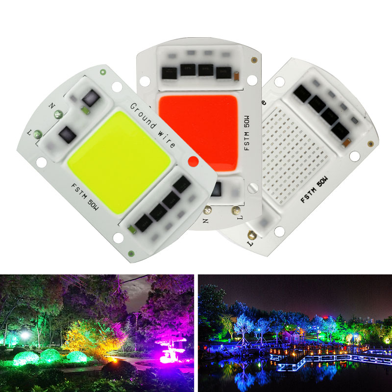 Colorful LED COB Chip 20W 30W 50W Smart IC Chip 220V 240V   LED Floodlight Spotlight  Red Blue Green Light Bead