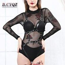 עור לרתום גרב חגורות לנשים פסטל גותיקה סקסי הלבשה תחתונה חמה כתפיות נשים סקסי מועדון לילה תלבושת גוף שעבוד יבול