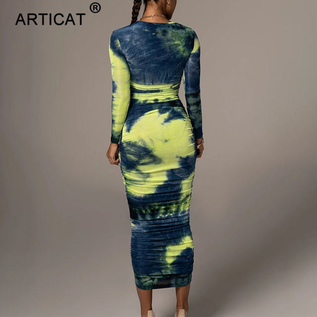 Articat Tie-Dye Print Ruched Christmas Dress For Women Long Sleeve Sexy Bodycon Winter Dress Elastic Pleated Casual Party Dress 2
