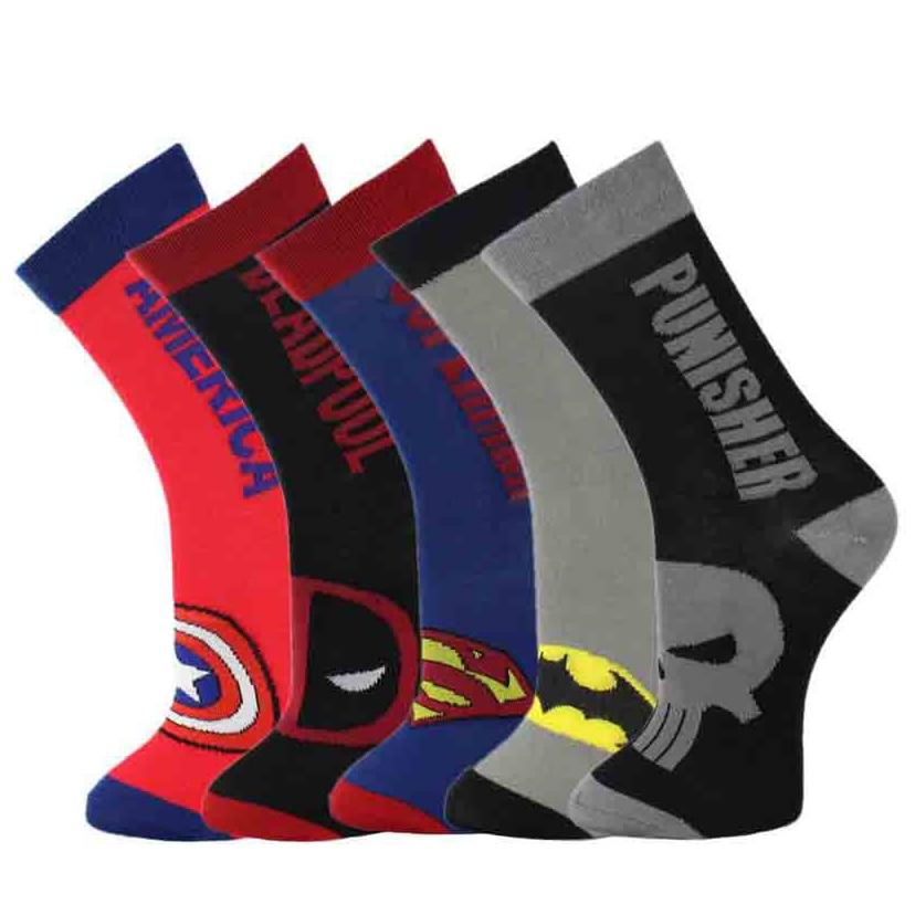 Marvel Funny Socks Men Hip Hop Novelty Street Wear Cartoon Socks Superman Batman Deadpool Punisher American Captain Sock 612W