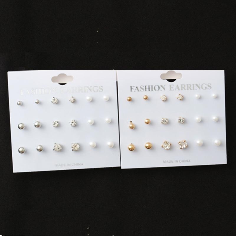 9 Pairs/Set Silver Gold Stud Earring Set Minimalist Jewelry Korean Style Mini Rhinestone Imitation Pearl Earrings For Women Gift