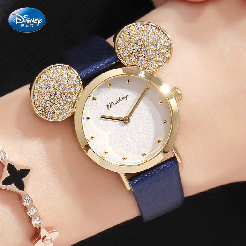 Disney Children's Quartz Wristwatch Girl Watch And Gift Cute Trend Personality Minnie Mouse Kids Watch Water Resistant Glass