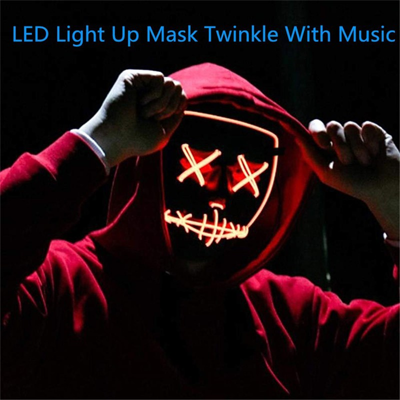 US 2-7 Days Fast Shipping Halloween LED Mask Purge Masks Election Mascara Costume DJ Party Light Up Masks Glow In Dark Masque V