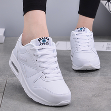 PU Leather Sneakers White Blue Walking Jogging Sports Shoes