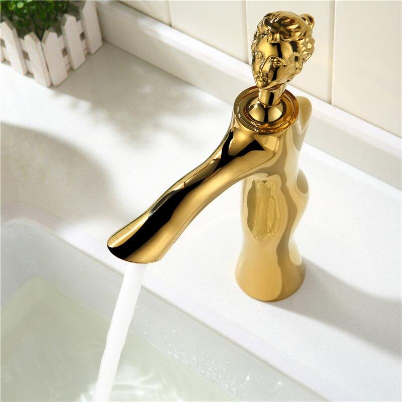 Robinet de bassin d'art de beauté européenne moderne cuivre chaud et froid tout le robinet de lavabo de bassin de salle de bains - 3