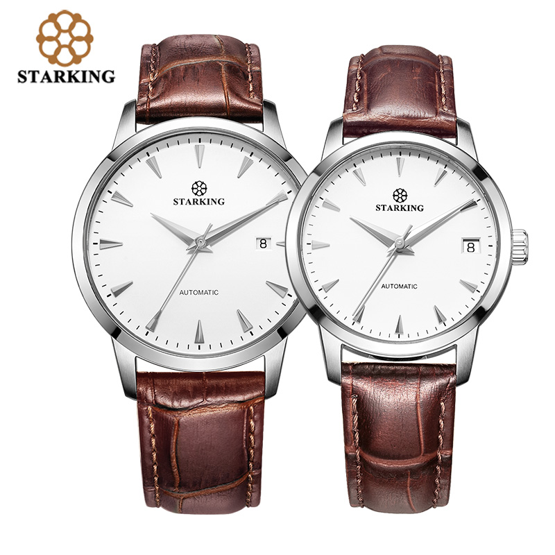STARKING Lovers Leather Strap Automatic Stainless Steel Watches For Lovers Men Women Fashion Dress Wristwatches Hodinky Paris