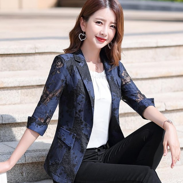 2021 Women Blazer Lace Printed Temperament Slim Suit One Button Notched Office Lady Black White Pink Blue Blazers Plus Size 3xl 1