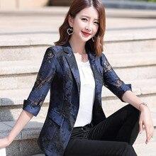 Women Blazer Pink White Suit One-Button Printed Slim Black Office Lady Blue Plus-Size