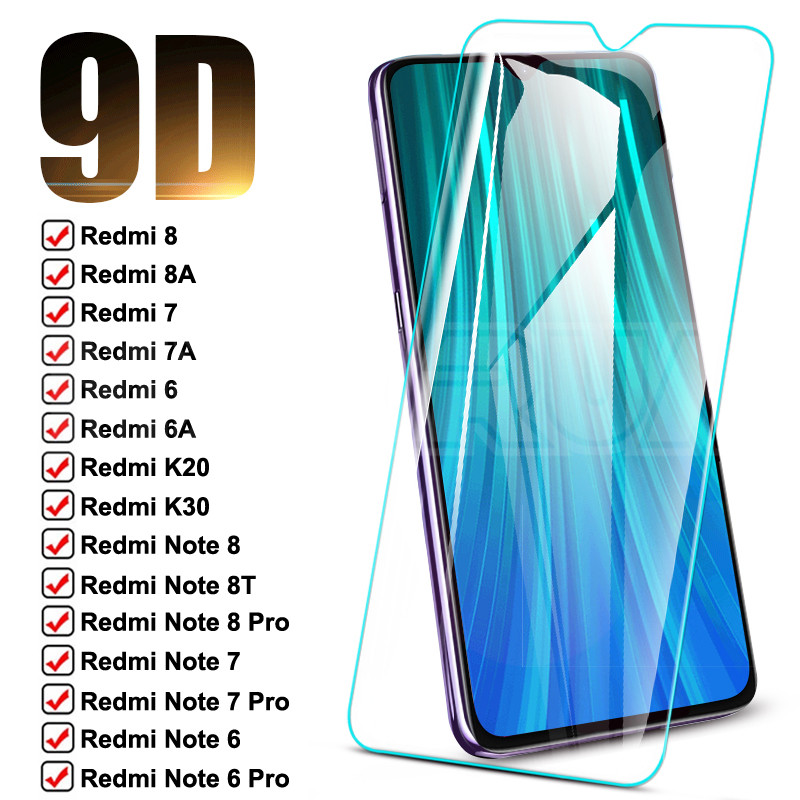 9D Защитное стекло для Xiaomi Redmi Note 8T 8 7 6 Pro, закаленное защитное стекло для экрана Redmi 8 8A 7 7A 6 6A K20 K30, защитная стеклянная пленка