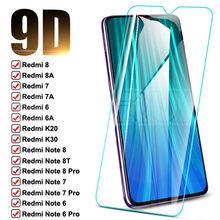 9d proteção de vidro para xiaomi redmi nota 8t 8 7 6 pro protetor de tela temperado redmi 8 8a 7 7a 6 6a k20 k30 película de vidro de segurança