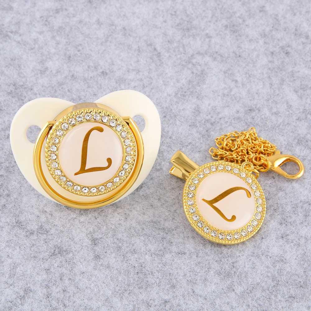 Chupeta branca livre de bebe bpa para 0-18 meses chupeta do bebê da letra inicial dourada com clipe de corrente
