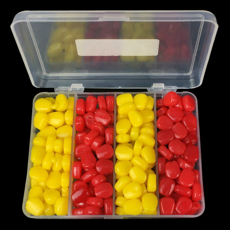 200pcs/Lot Soft Carp Bait Fishing Lure Set Floating Corn Flavor Artificial Bait Yellow Red with Plastic Box|Fishing Lures| |  -