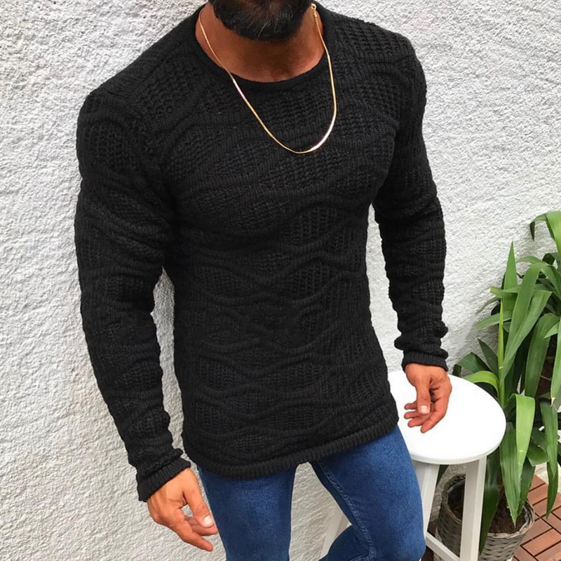 2019 New Fashion Men Sweaters Autumn Winter Solid Color Round Neck Slim Long-Sleeved Thin Warm Sweater Men's Clothing
