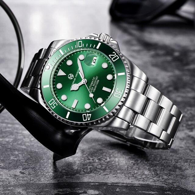 2020 PAGRNE DESIGN Top Brand Luxury Kelpie Series Watch Men Automatic Mechanical Wristwatch Stainless Steel Relogio Masculino 4