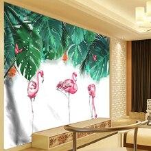 Chic Flamingo Tapestry Plant Leaves Watercolor Hanging Wall Tapestries Mandala Bohemian Landscape Wallpaper Art