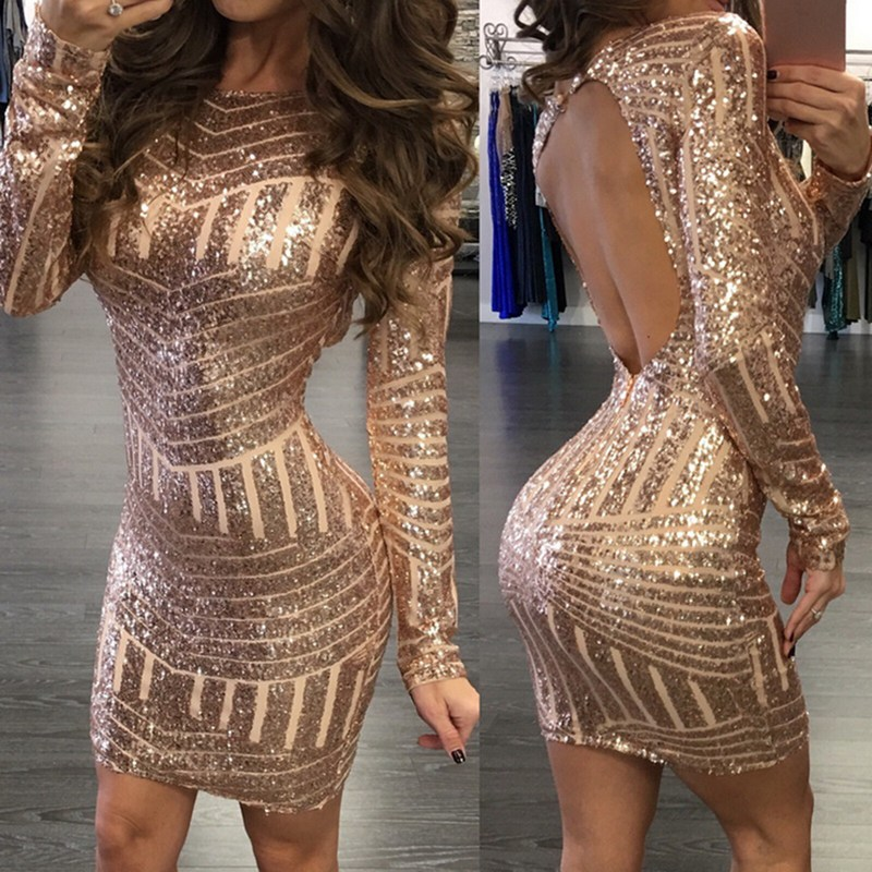 2020 Sfit Sexy Backless Gold Sequin Women Dress Long Sleeve Bodycon Mini Party Short Dress Package Hip Sheath Vestidos