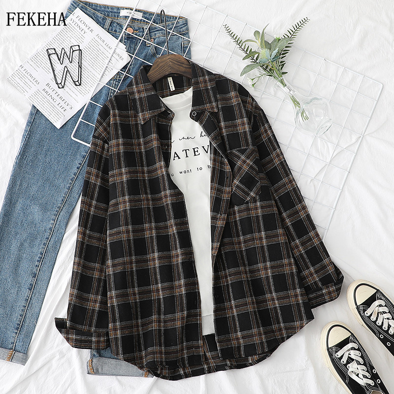 Plaid Shirts Womens Blouses And Tops Long Sleeve Female Casual Print Shirts Loose Cotton Checked Lady Outwear Spring News