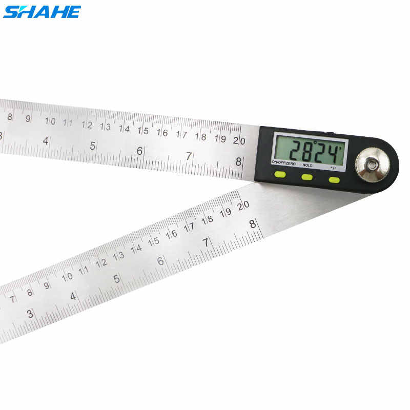 Regla del buscador de ángulo Digital 200 mm indicador Digital goniómetro Digital 2 en 1 medidor de ángulo con cuchillas de acero inoxidable