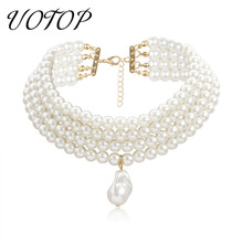 цена на UOTOP 2019 New 4 Rows Multi Layered Faux Round Baroque Pearl Choker Necklace Ketting Female Gold Color Collar Necklaces Collares