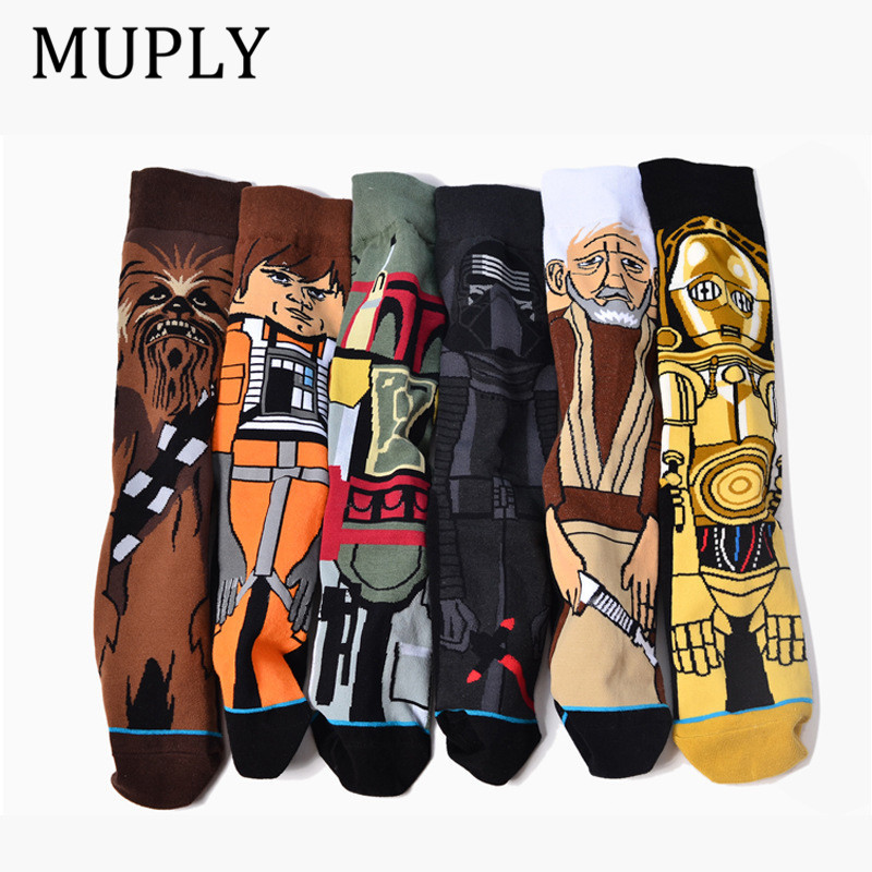 2019 Sale Hot Autumn And Winter New Cartoon Funny Men Socks Stockings Planet Battle Vader Socks