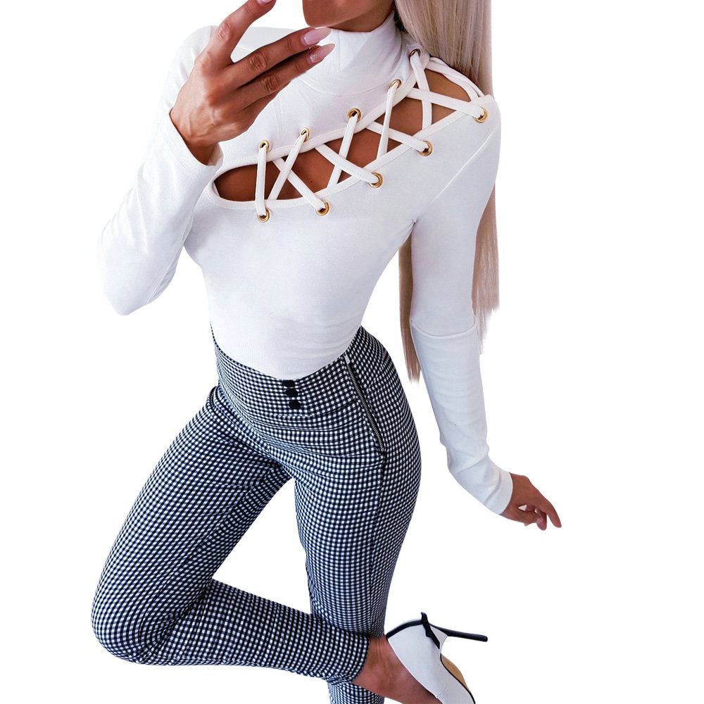 Women White <font><b>Black</b></font> Turtleneck T-Shirts 2019 Autumn <font><b>Sexy</b></font> Lace Up Eyelet Hollow Out Long Sleeve T-Shirt Slim Fit <font><b>TShirt</b></font> Female Tops image